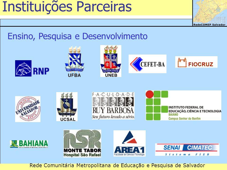 Rede Comunitária Metropolitana de Educação e Pesquisa de Salvador Instituições Parceiras Governo Estadual Governo Municipal Parceiros Institucionais