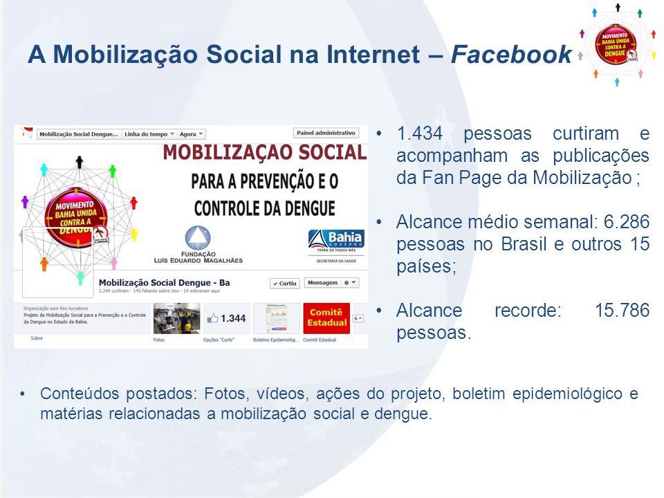 A Mobilização Social na Internet – Facebook 1.434 pessoas curtiram e acompanham as publicações da Fan Page da Mobilização ; Alcance médio semanal: 6.2