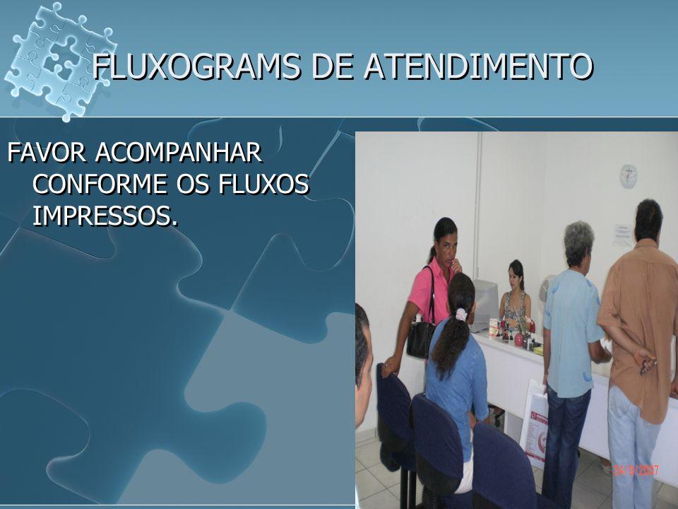 FLUXOGRAMS DE ATENDIMENTO FAVOR ACOMPANHAR CONFORME OS FLUXOS IMPRESSOS.