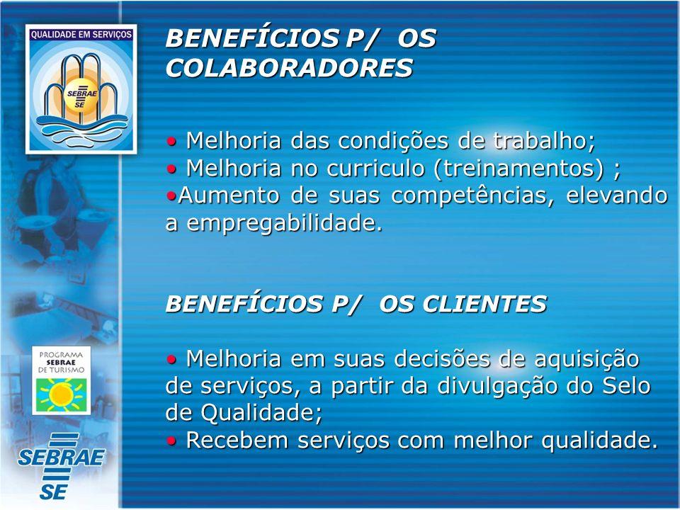 BENEFÍCIOS P/ OS COLABORADORES Melhoria das condições de trabalho; Melhoria das condições de trabalho; Melhoria no curriculo (treinamentos) ; Melhoria