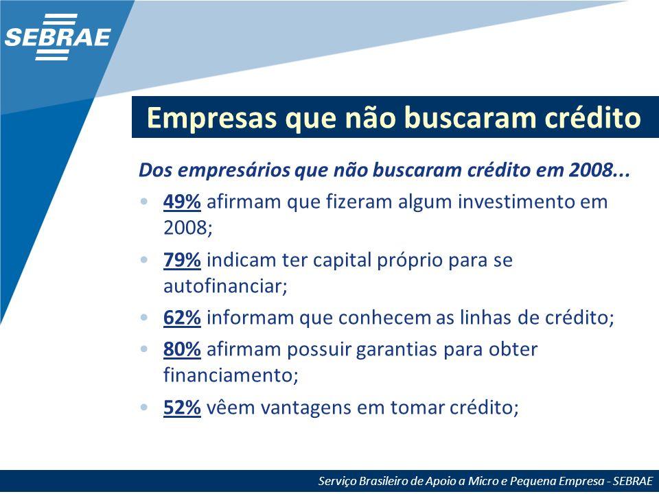 Serviço Brasileiro de Apoio a Micro e Pequena Empresa - SEBRAE Empresas que não buscaram crédito Dos empresários que não buscaram crédito em 2008... 4