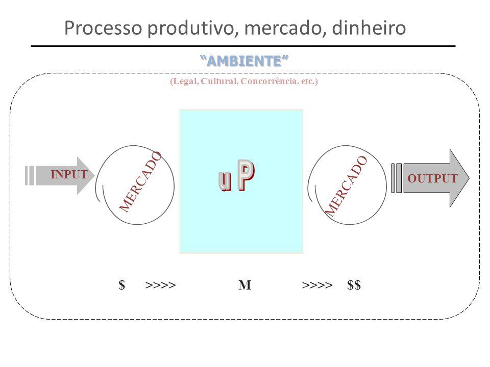 INPUT OUTPUT (Legal, Cultural, Concorrência, etc.)AMBIENTE $ >>>> M >>>> $$ MERCADO Processo produtivo, mercado, dinheiro