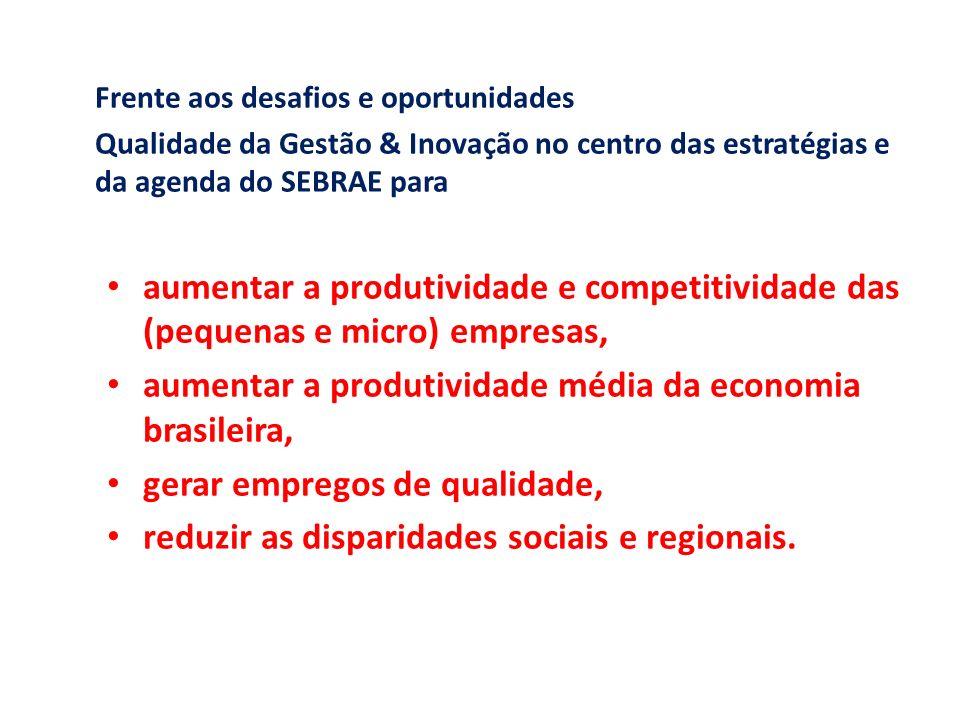 Carlos Alberto dos Santos Frente aos desafios e oportunidades Qualidade da Gestão & Inovação no centro das estratégias e da agenda do SEBRAE para aume