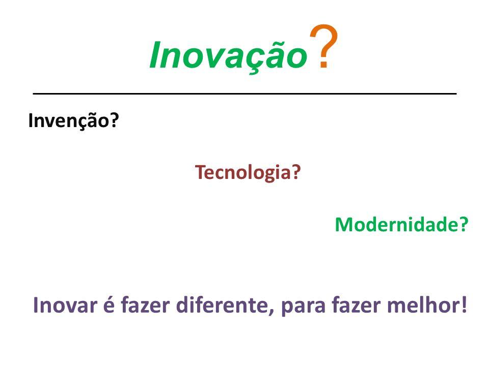 Inovação ? Invenção? Tecnologia? Modernidade? Inovar é fazer diferente, para fazer melhor!