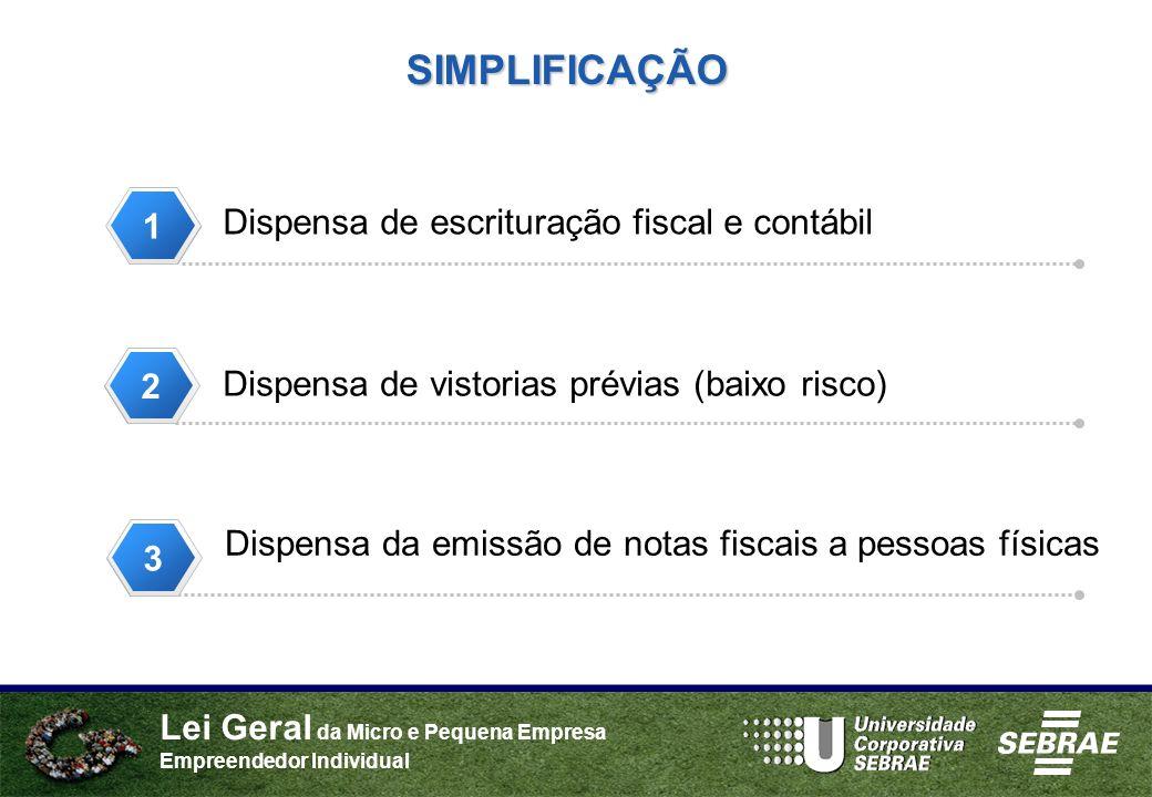 Lei Geral da Micro e Pequena Empresa Empreendedor Individual Dispensa de escrituração fiscal e contábil Dispensa de vistorias prévias (baixo risco) SI