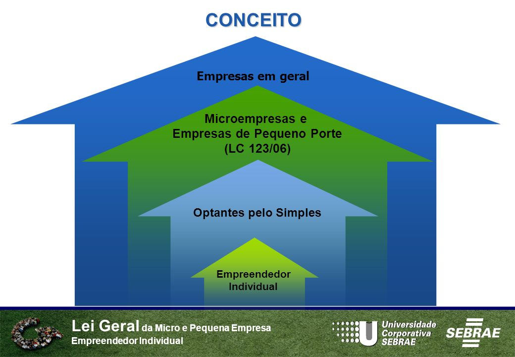 Lei Geral da Micro e Pequena Empresa Empreendedor Individual Optantes pelo Simples Microempresas e Empresas de Pequeno Porte (LC 123/06) Empreendedor