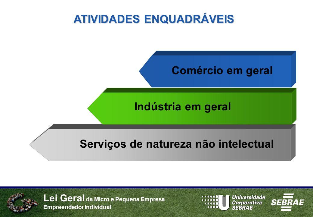 Lei Geral da Micro e Pequena Empresa Empreendedor Individual Comércio em geral ATIVIDADES ENQUADRÁVEIS Indústria em geral Serviços de natureza não int