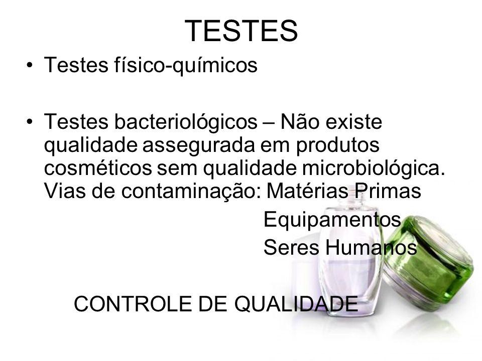 TESTES Testes físico-químicos Testes bacteriológicos – Não existe qualidade assegurada em produtos cosméticos sem qualidade microbiológica. Vias de co