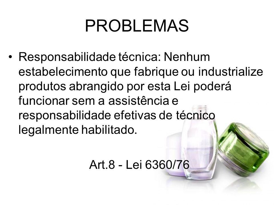 PROBLEMAS Responsabilidade técnica: Nenhum estabelecimento que fabrique ou industrialize produtos abrangido por esta Lei poderá funcionar sem a assist