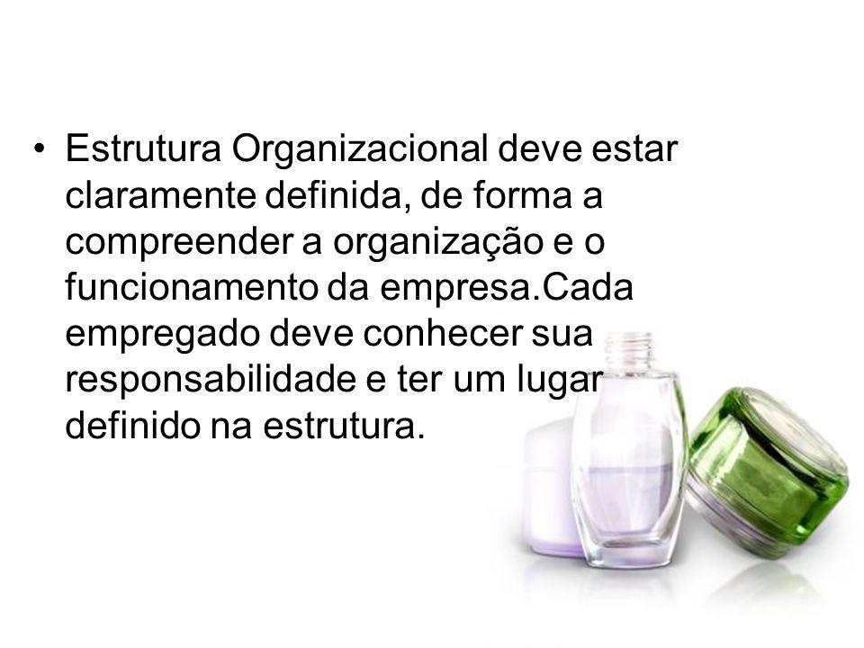 Estrutura Organizacional deve estar claramente definida, de forma a compreender a organização e o funcionamento da empresa.Cada empregado deve conhece