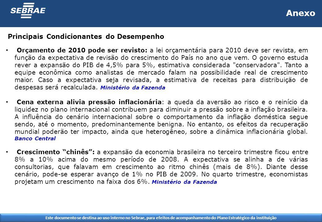 Este documento se destina ao uso interno no Sebrae, para efeitos de acompanhamento do Plano Estratégico da instituição Anexo Orçamento de 2010 pode ser revisto: a lei orçamentária para 2010 deve ser revista, em função da expectativa de revisão do crescimento do País no ano que vem.