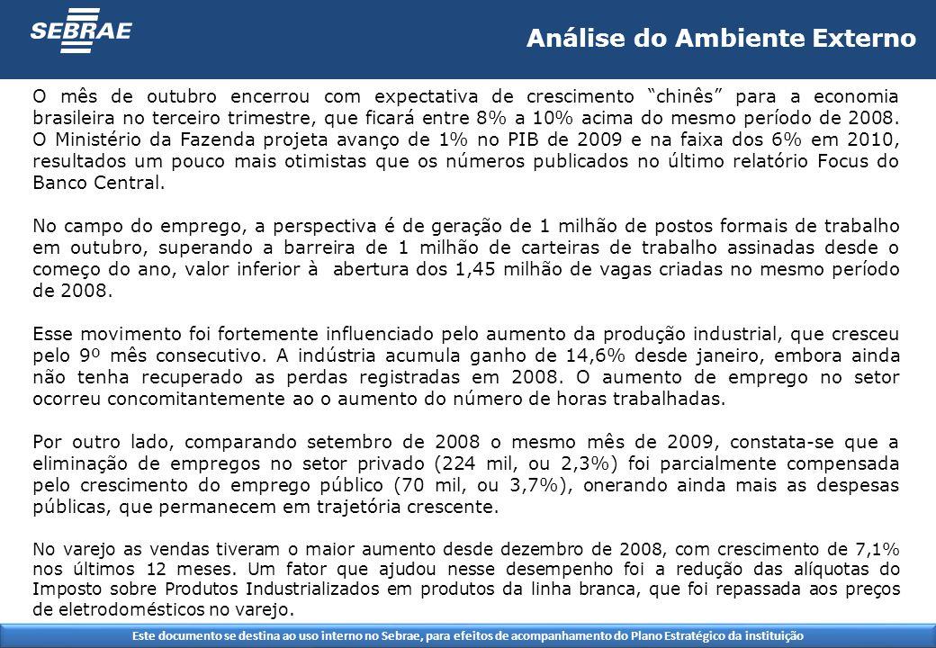 Este documento se destina ao uso interno no Sebrae, para efeitos de acompanhamento do Plano Estratégico da instituição O mês de outubro encerrou com expectativa de crescimento chinês para a economia brasileira no terceiro trimestre, que ficará entre 8% a 10% acima do mesmo período de 2008.