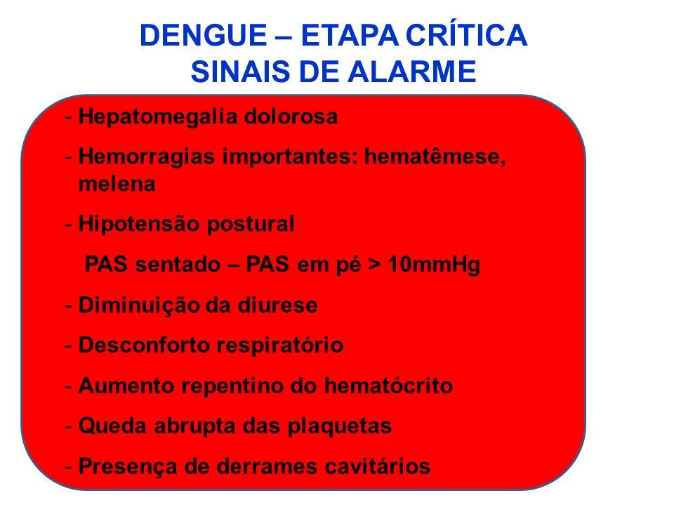 DENGUE – ETAPA CRÍTICA SINAIS DE ALARME -Hepatomegalia dolorosa -Hemorragias importantes: hematêmese, melena -Hipotensão postural PAS sentado – PAS em