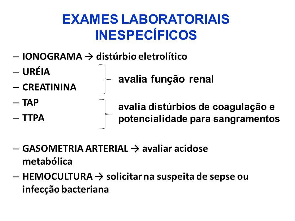 EXAMES LABORATORIAIS INESPECÍFICOS – IONOGRAMA distúrbio eletrolítico – URÉIA – CREATININA – TAP – TTPA – GASOMETRIA ARTERIAL avaliar acidose metabóli