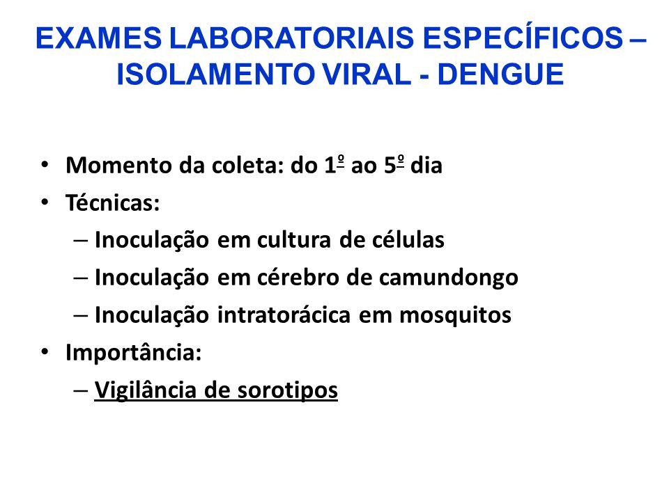 Momento da coleta: do 1 º ao 5 º dia Técnicas: – Inoculação em cultura de células – Inoculação em cérebro de camundongo – Inoculação intratorácica em