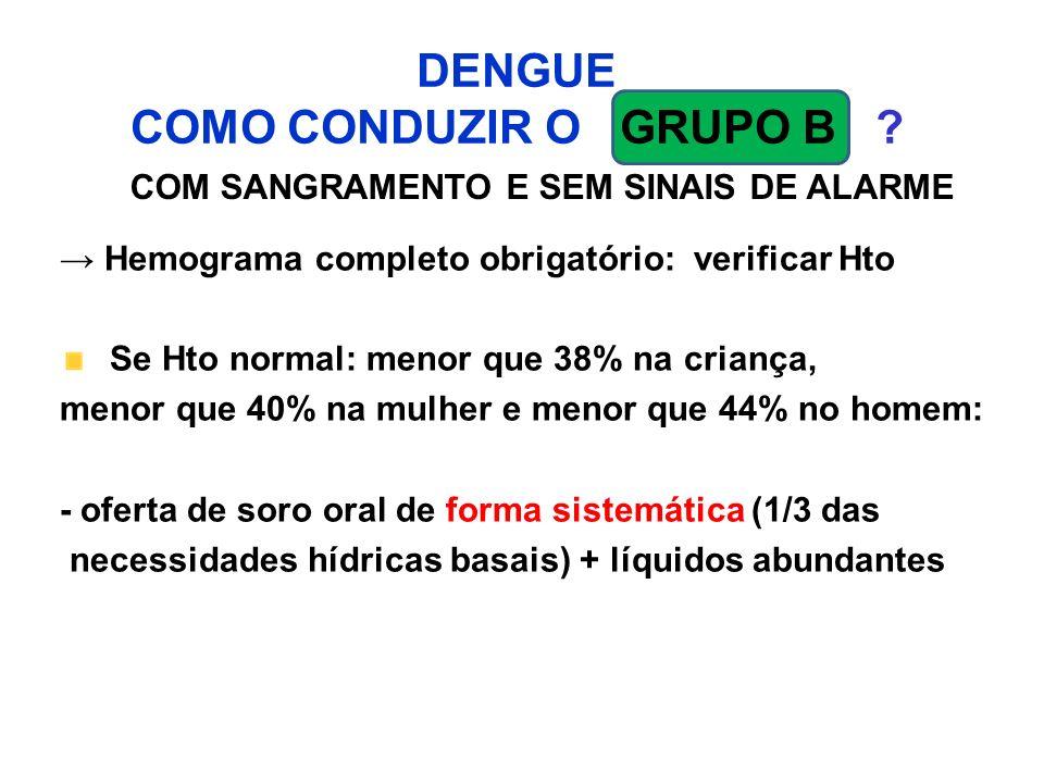 DENGUE COMO CONDUZIR O GRUPO B ? COM SANGRAMENTO E SEM SINAIS DE ALARME Hemograma completo obrigatório: verificar Hto Se Hto normal: menor que 38% na