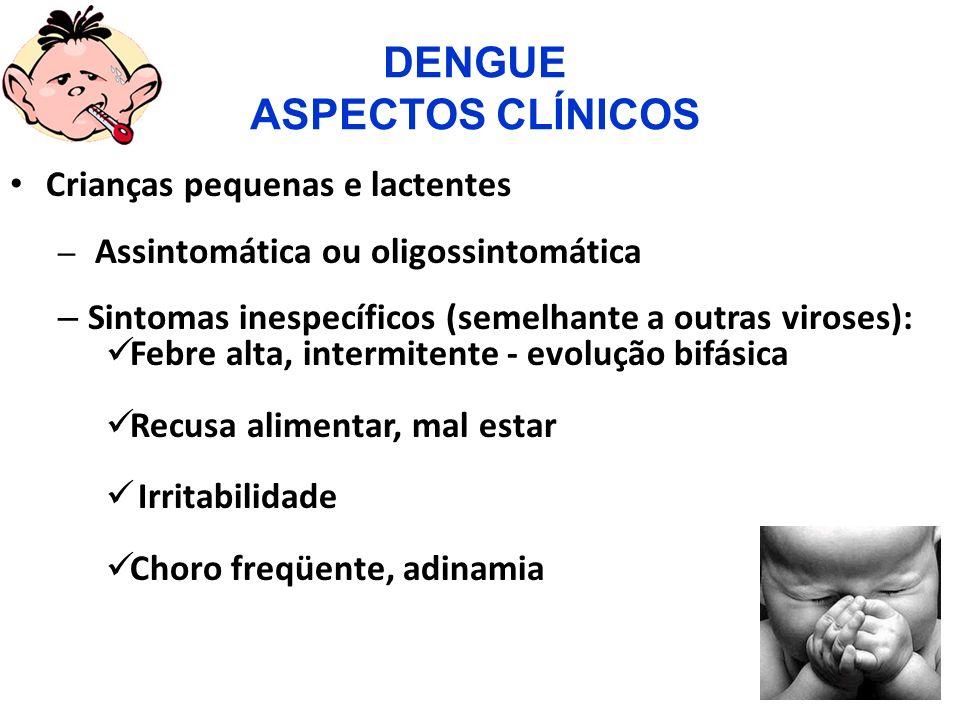 DEFINIÇÃO DE CASO DE DENGUE HEMORRÁGICA DEFINIÇÃO DE CASO DE DENGUE HEMORRÁGICA Critérios: O diagnóstico da FHD É baseado em critérios estabelecidos pela OMS que incluem : Critérios clínicos: a) Febre alta, de início agudo, contínua, natural e duradoura (2 a 7 dias) b) Manifestações hemorrágicas incluindo pelo menos a Prova do Laço Positiva c) Hepatomegalia d) Sintomas de choque Critérios laboratoriais: - Trombocitopenia (< 100.000 plaquetas/mm3).