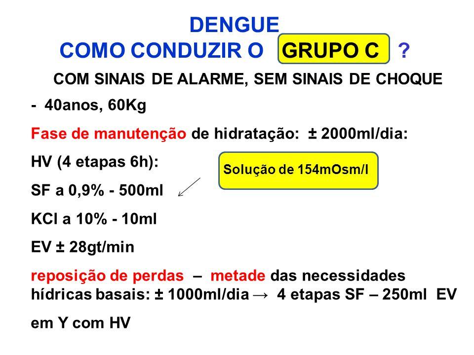 DENGUE COMO CONDUZIR O GRUPO C ? COM SINAIS DE ALARME, SEM SINAIS DE CHOQUE - 40anos, 60Kg Fase de manutenção de hidratação: ± 2000ml/dia: HV (4 etapa