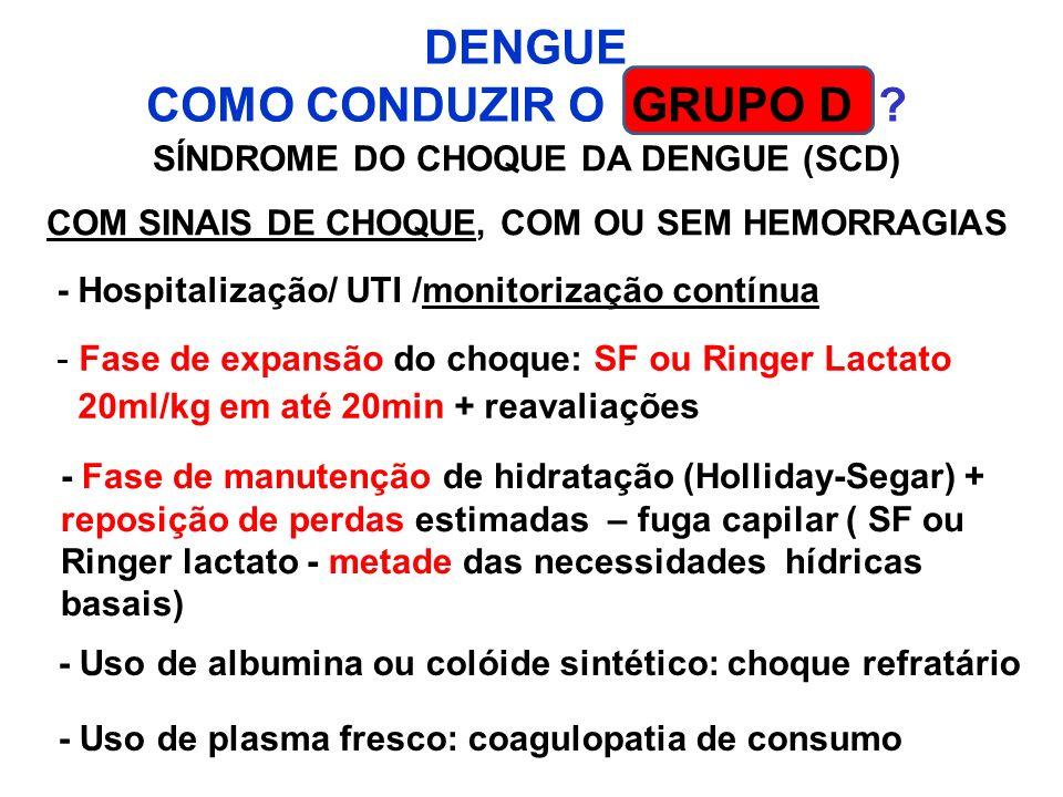 DENGUE COMO CONDUZIR O GRUPO D ? SÍNDROME DO CHOQUE DA DENGUE (SCD) COM SINAIS DE CHOQUE, COM OU SEM HEMORRAGIAS - Hospitalização/ UTI /monitorização
