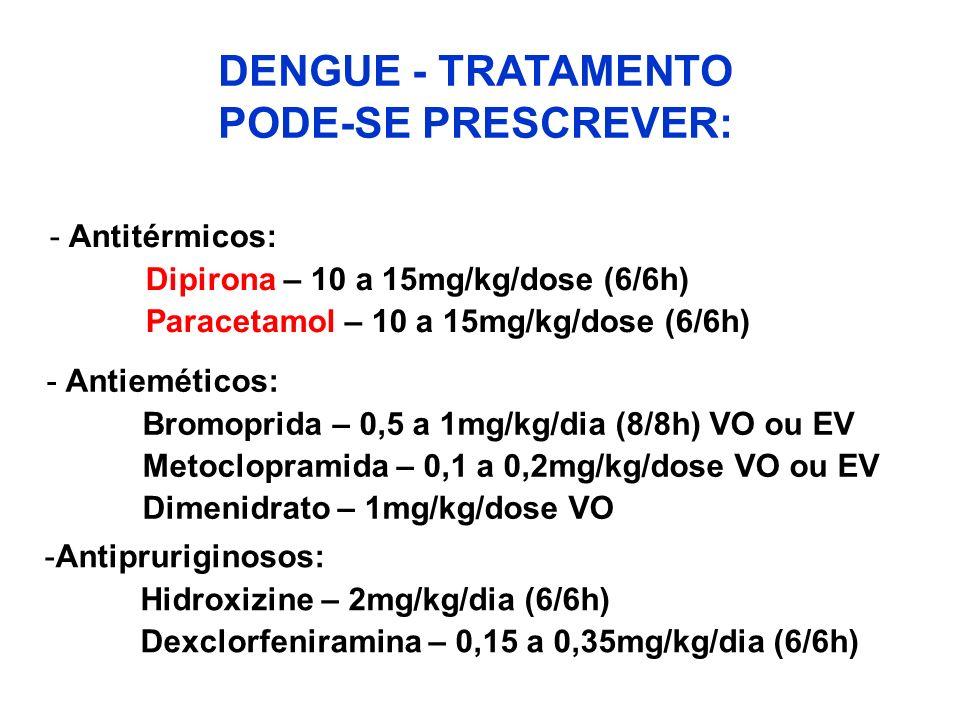 DENGUE - TRATAMENTO PODE-SE PRESCREVER: - Antitérmicos: Dipirona – 10 a 15mg/kg/dose (6/6h) Paracetamol – 10 a 15mg/kg/dose (6/6h) -Antieméticos: Brom