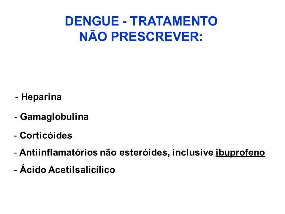 DENGUE - TRATAMENTO NÃO PRESCREVER: - Heparina -Gamaglobulina - Corticóides - Antiinflamatórios não esteróides, inclusive ibuprofeno - Ácido Acetilsal