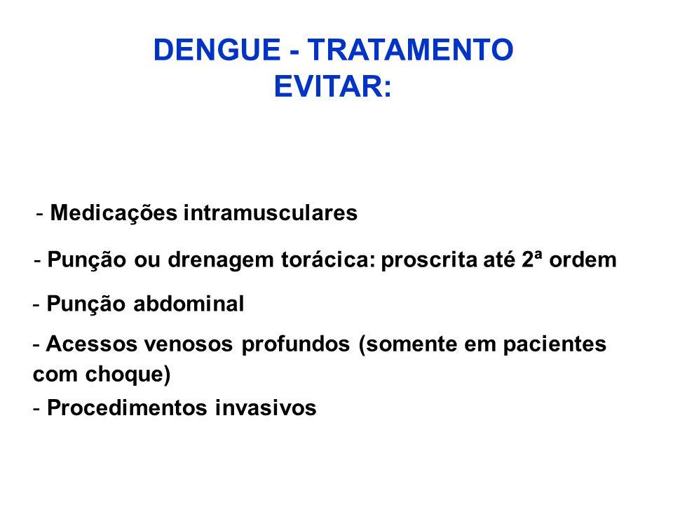 DENGUE - TRATAMENTO EVITAR: - Medicações intramusculares -Punção ou drenagem torácica: proscrita até 2ª ordem - Punção abdominal - Acessos venosos pro