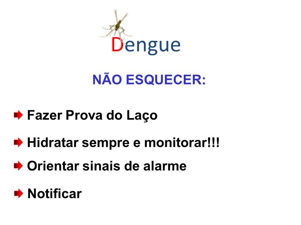 : NÃO ESQUECER: Fazer Prova do Laço Hidratar sempre e monitorar!!! Orientar sinais de alarme Notificar Dengue