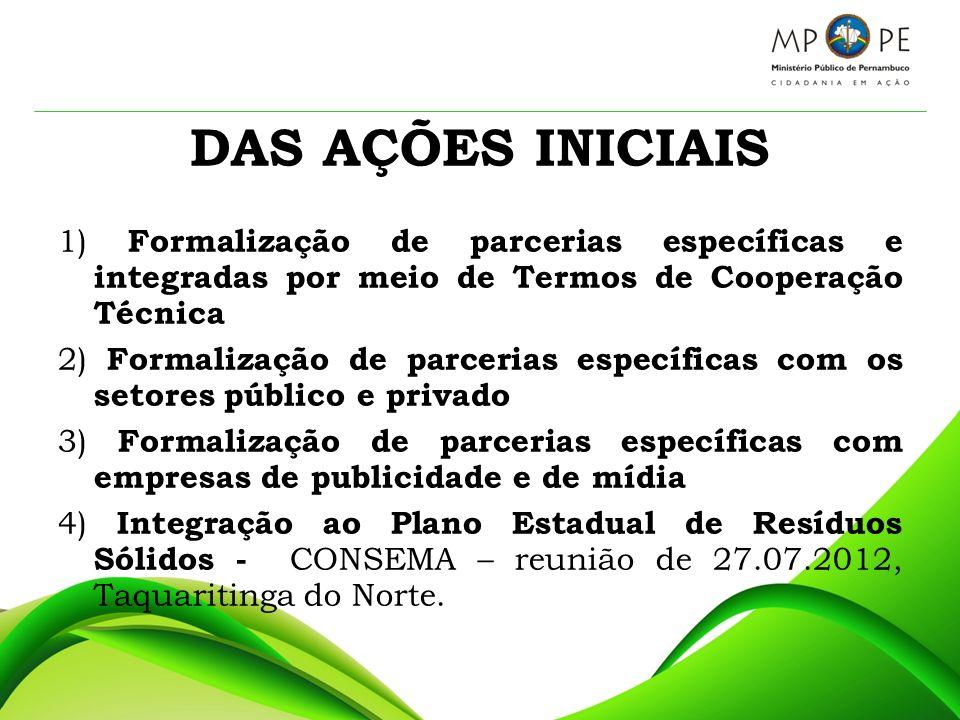 DAS AÇÕES INICIAIS 1) Formalização de parcerias específicas e integradas por meio de Termos de Cooperação Técnica 2) Formalização de parcerias específ