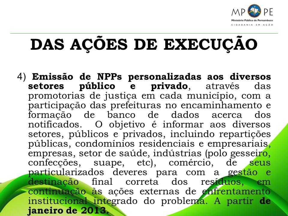 DAS AÇÕES DE EXECUÇÃO 5) Emissão de NPPs dirigidas à população em geral, através das promotorias de justiça em cada município, com a participação das Prefeituras, COMPESA, CORREIOS e CELPE na personalização e encaminhamento de tais documentos.