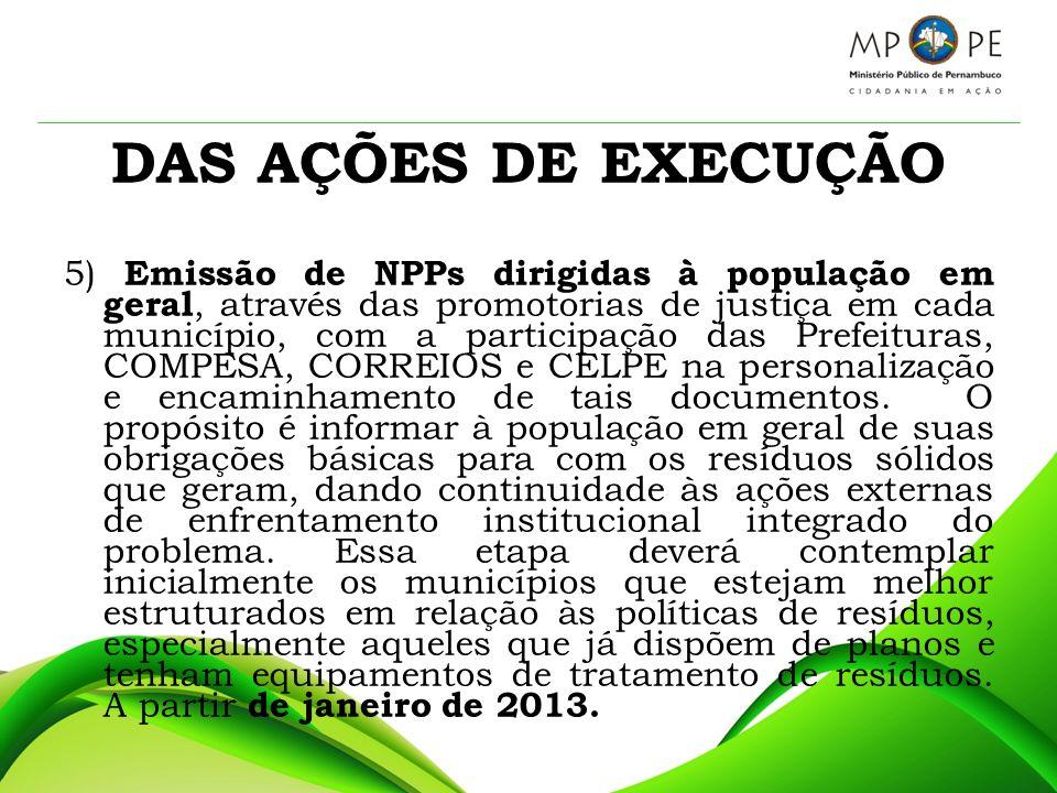 DAS AÇÕES DE EXECUÇÃO 5) Emissão de NPPs dirigidas à população em geral, através das promotorias de justiça em cada município, com a participação das