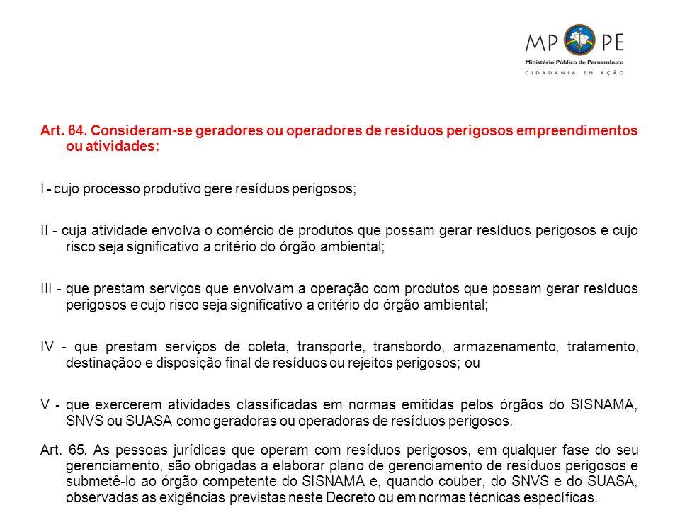 Art. 64. Consideram-se geradores ou operadores de resíduos perigosos empreendimentos ou atividades: I - cujo processo produtivo gere resíduos perigoso