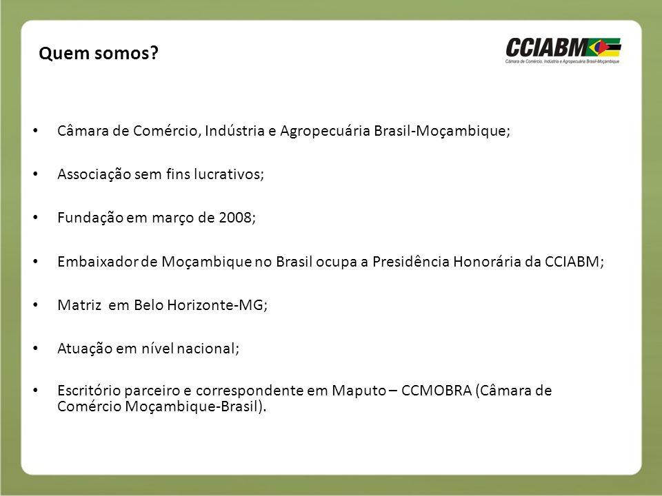 Missão Fomentar o relacionamento socioeconômico entre Brasil e Moçambique, criando um ambiente institucional e de negócios favorável, e auxiliando o aproveitamento das oportunidades existentes.