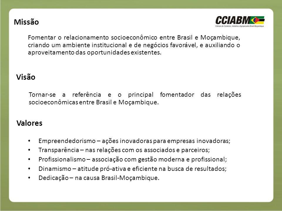 Objetivos Institucionais Desenvolvimento do comércio bilateral entre Brasil e Moçambique; Atração de investimentos recíprocos; Facilitação da entrada de empresas nos dois países; Intercâmbio cultural; Prospecção de parcerias junto às iniciativas privadas e aos governos; Organização de eventos e missões; Pesquisas de mercado; Fornecimento de informações sobre os dois países; Fonte de contatos empresariais e governamentais.