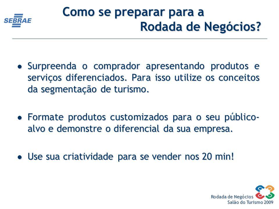 Rodada de Negócios Salão do Turismo 2009 Surpreenda o comprador apresentando produtos e serviços diferenciados.