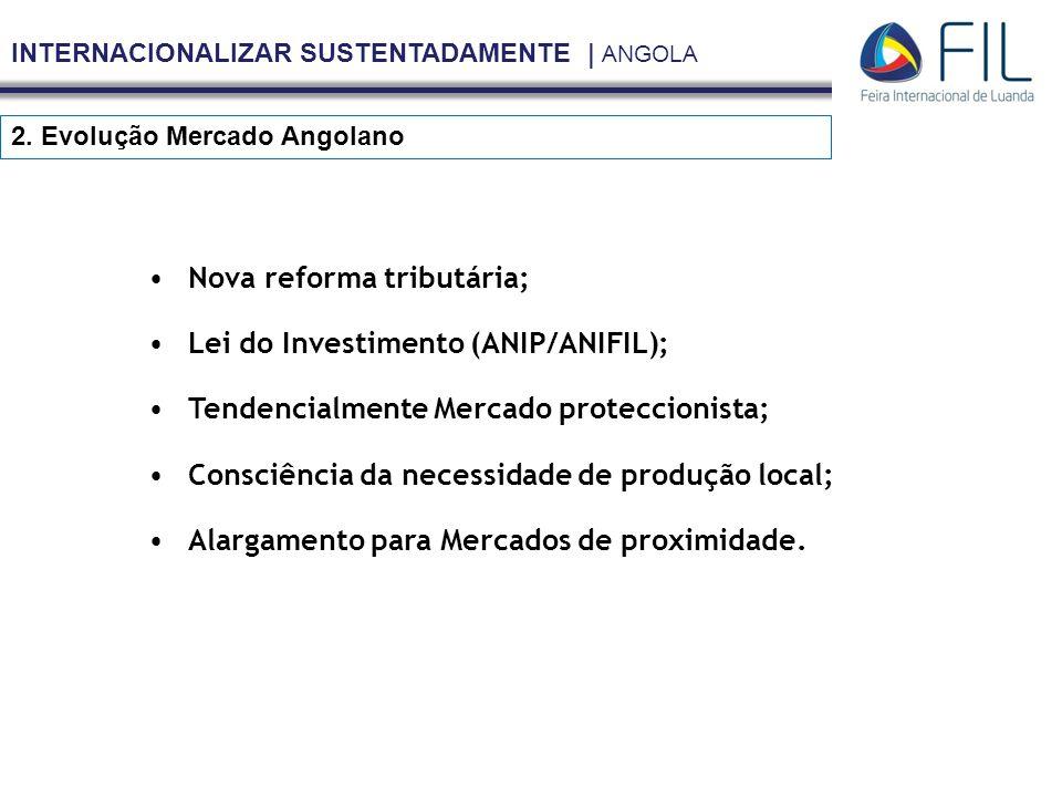 INTERNACIONALIZAR SUSTENTADAMENTE | ANGOLA 2. Evolução Mercado Angolano Nova reforma tributária; Lei do Investimento (ANIP/ANIFIL); Tendencialmente Me