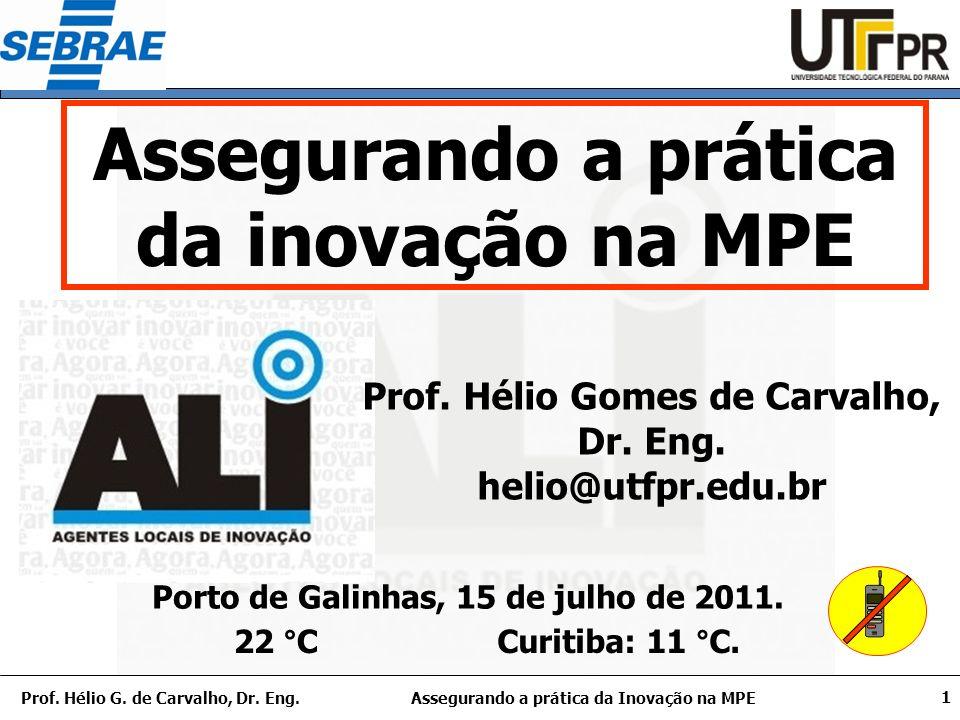 Assegurando a prática da Inovação na MPEProf.Hélio G.