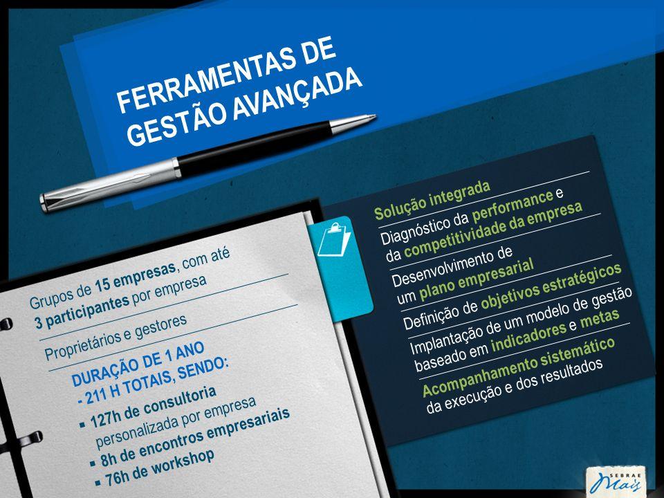 FERRAMENTAS DE GESTÃO AVANÇADA Solução integrada Diagnóstico da performance e da competitividade da empresa Desenvolvimento de um plano empresarial De