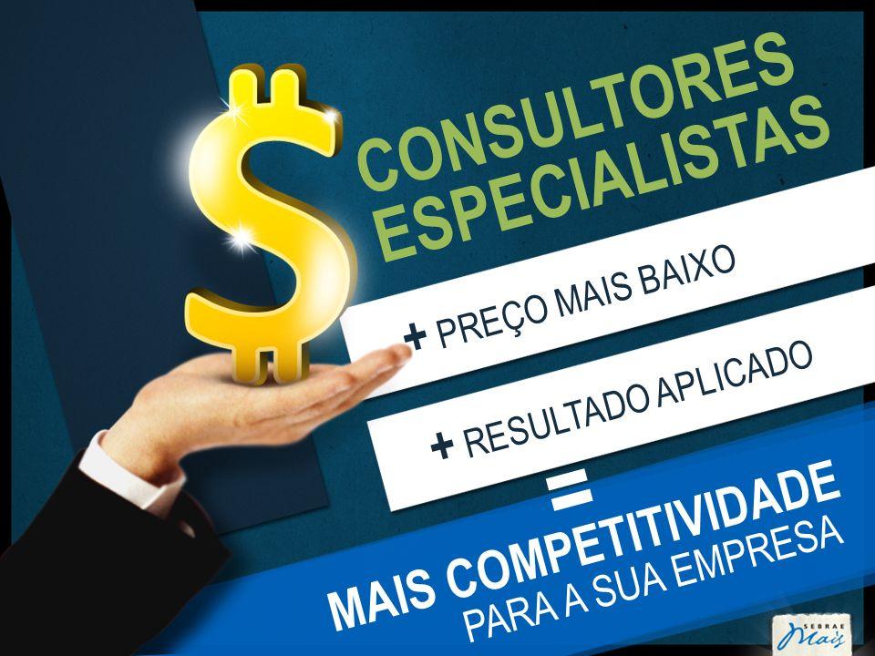 CONSULTORES ESPECIALISTAS + PREÇO MAIS BAIXO + RESULTADO APLICADO MAIS COMPETITIVIDADE PARA A SUA EMPRESA =