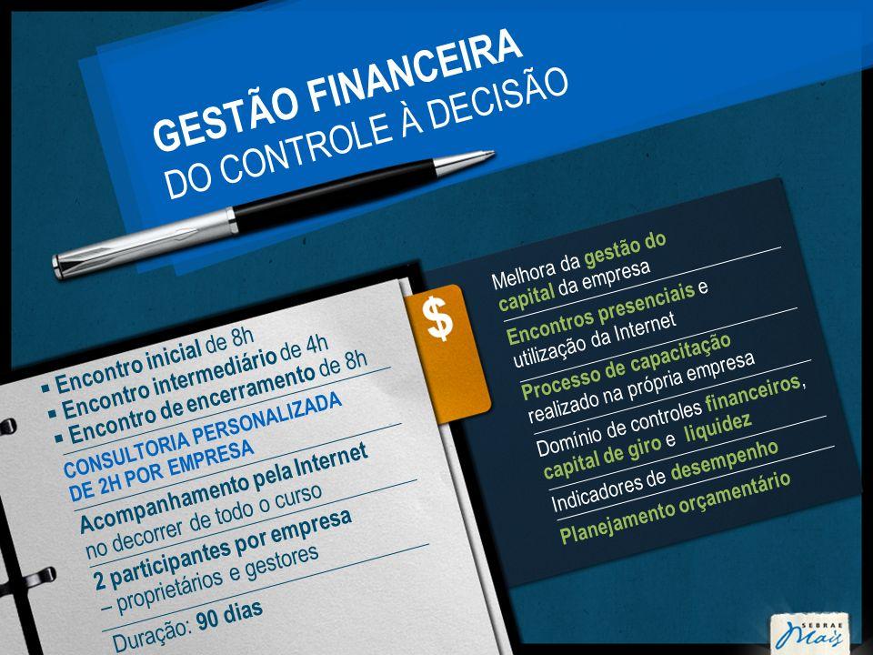 GESTÃO FINANCEIRA DO CONTROLE À DECISÃO Melhora da gestão do capital da empresa Encontros presenciais e utilização da Internet Processo de capacitação
