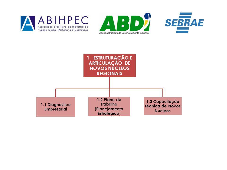 1. ESTRUTURAÇÃO E ARTICULAÇÃO DE NOVOS NÚCLEOS REGIONAIS 1.1 Diagnóstico Empresarial 1.2 Plano de Trabalho (Planejamento Estratégico ) 1.3 Capacitação
