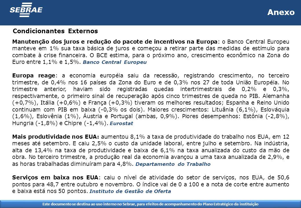 Este documento se destina ao uso interno no Sebrae, para efeitos de acompanhamento do Plano Estratégico da instituição Condicionantes Externos Anexo Manutenção dos juros e redução do pacote de incentivos na Europa: o Banco Central Europeu manteve em 1% sua taxa básica de juros e começou a retirar parte das medidas de estímulo para combate à crise financeira.