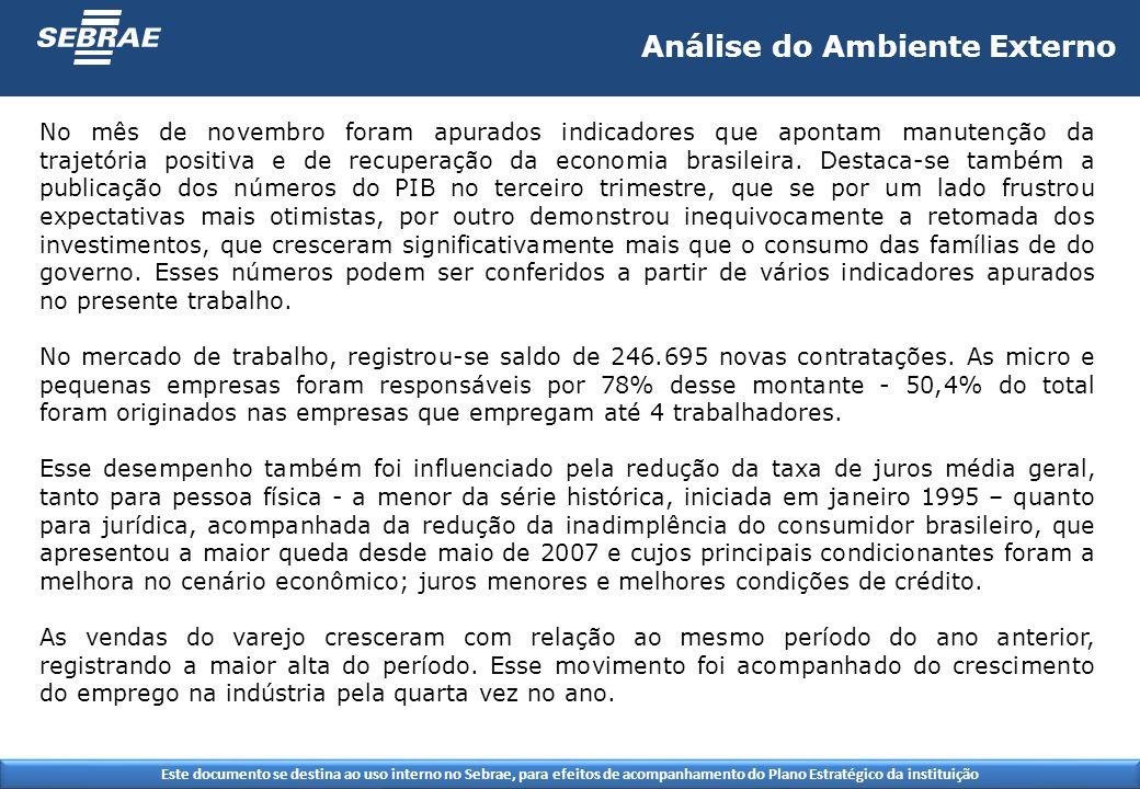 Este documento se destina ao uso interno no Sebrae, para efeitos de acompanhamento do Plano Estratégico da instituição No mês de novembro foram apurados indicadores que apontam manutenção da trajetória positiva e de recuperação da economia brasileira.