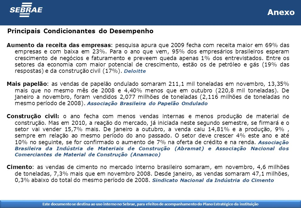 Este documento se destina ao uso interno no Sebrae, para efeitos de acompanhamento do Plano Estratégico da instituição Anexo Aumento da receita das empresas: pesquisa apura que 2009 fecha com receita maior em 69% das empresas e com baixa em 23%.