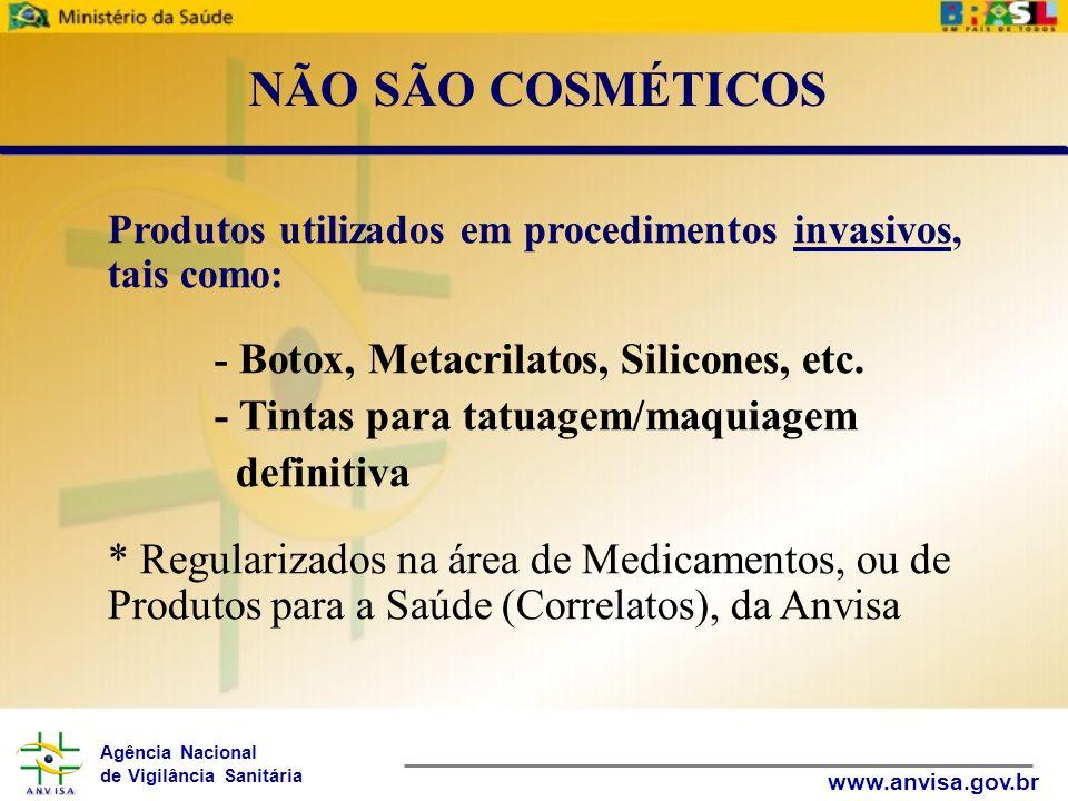 Agência Nacional de Vigilância Sanitária www.anvisa.gov.br Produtos utilizados em procedimentos invasivos, tais como: - Botox, Metacrilatos, Silicones