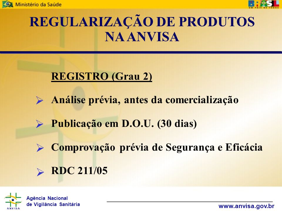 Agência Nacional de Vigilância Sanitária www.anvisa.gov.br REGISTRO (Grau 2) Análise prévia, antes da comercialização Publicação em D.O.U. (30 dias) C