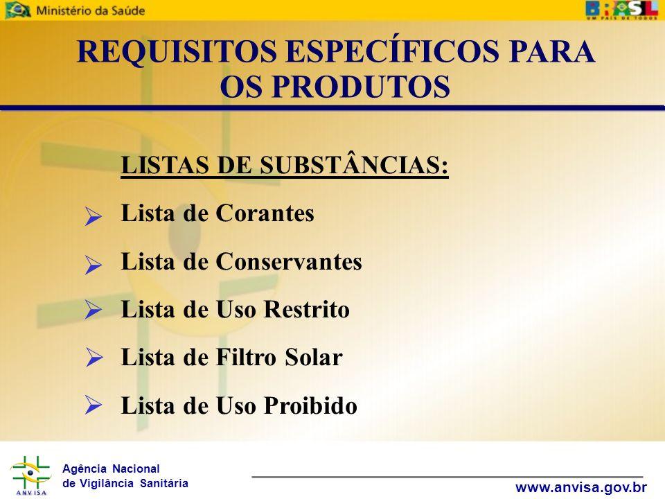 Agência Nacional de Vigilância Sanitária www.anvisa.gov.br LISTAS DE SUBSTÂNCIAS: Lista de Corantes Lista de Conservantes Lista de Uso Restrito Lista