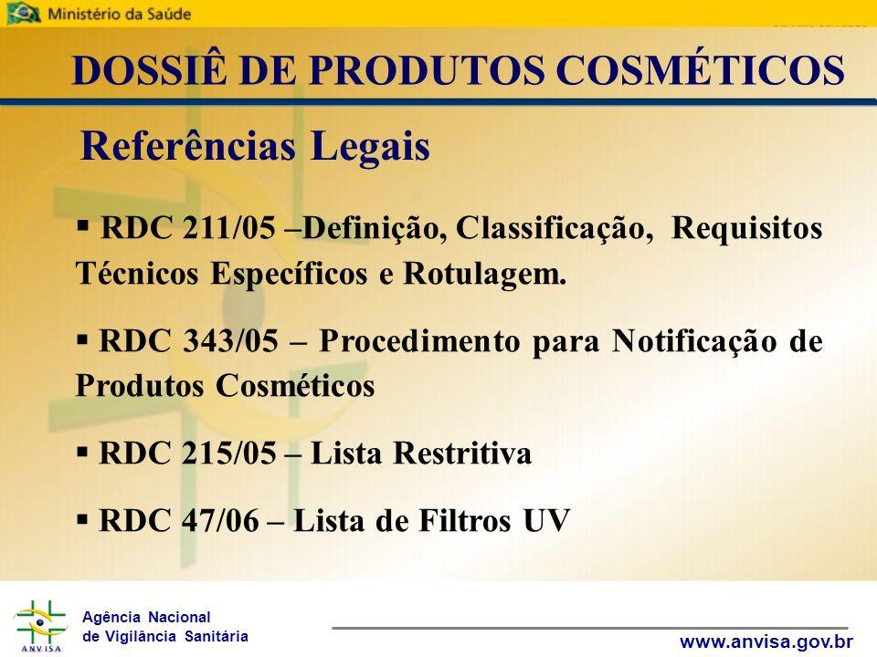 Agência Nacional de Vigilância Sanitária www.anvisa.gov.br DOSSIÊ DE PRODUTOS COSMÉTICOS RDC 162/01 – Lista de Conservantes Resolução 79/00 (Anexo III) – Lista de Corantes RDC 48/06 – Lista de Substâncias Proibidas Resolução 481/99 – Parâmetros Microbiológicos RDC 237/02 – Protetores Solares Referências Legais