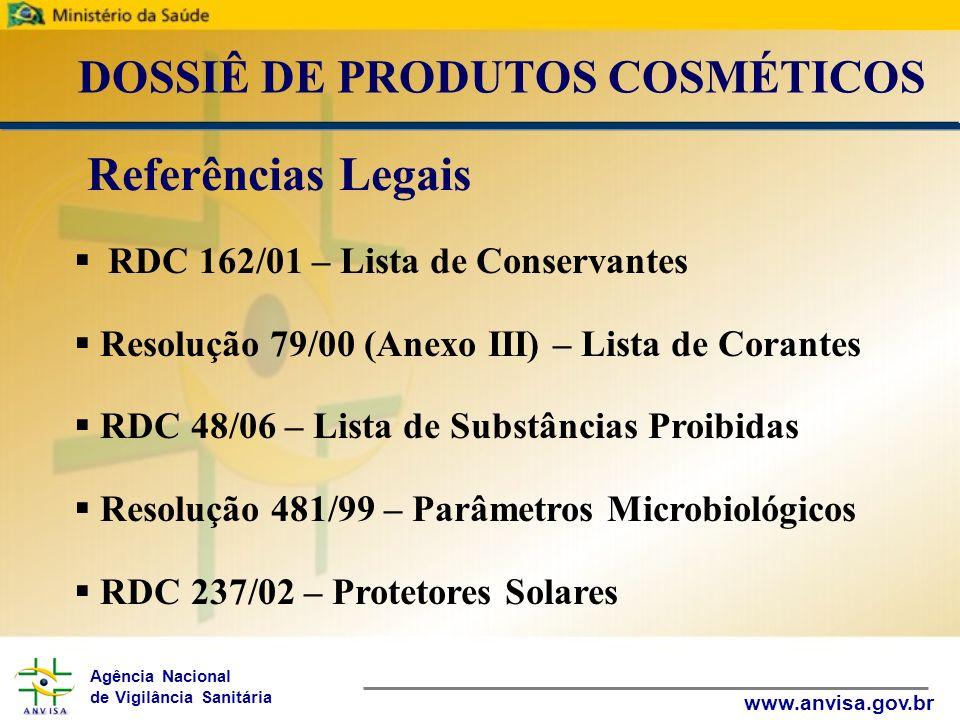 Agência Nacional de Vigilância Sanitária www.anvisa.gov.br DOSSIÊ DE PRODUTOS COSMÉTICOS RDC 162/01 – Lista de Conservantes Resolução 79/00 (Anexo III