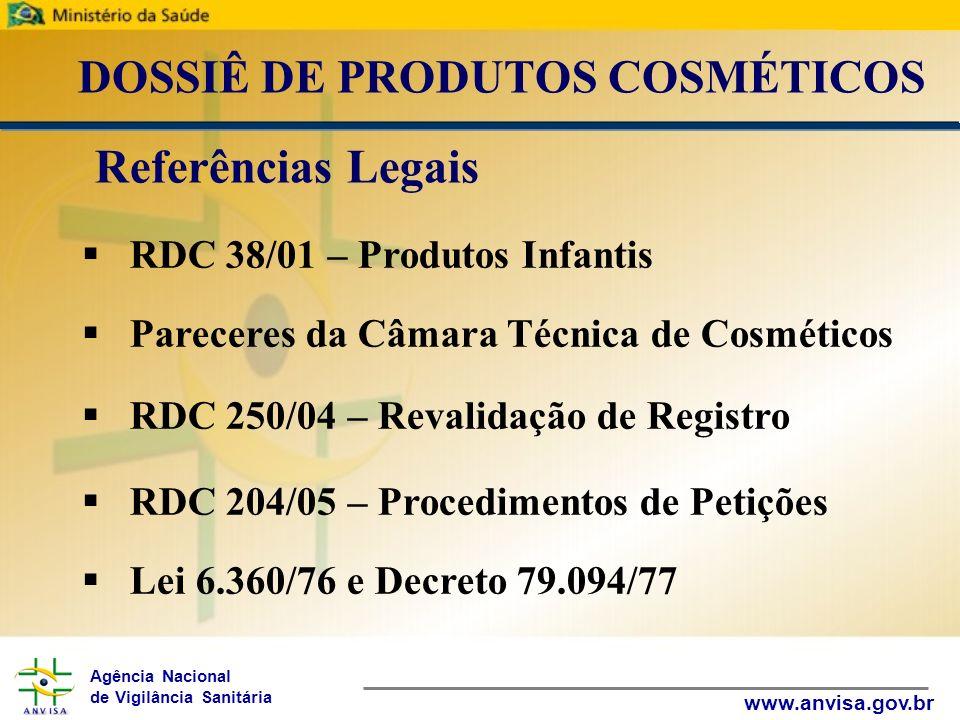 Agência Nacional de Vigilância Sanitária www.anvisa.gov.br DOSSIÊ DE PRODUTOS COSMÉTICOS RDC 38/01 – Produtos Infantis Pareceres da Câmara Técnica de
