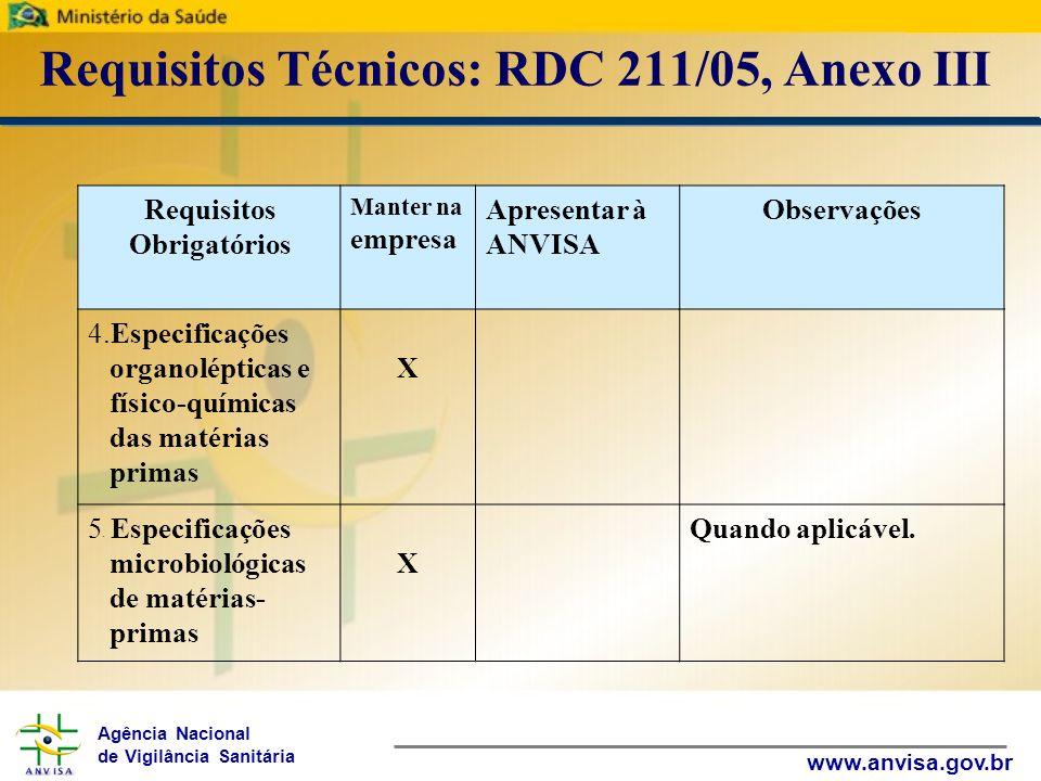 Agência Nacional de Vigilância Sanitária www.anvisa.gov.br Requisitos Técnicos: RDC 211/05, Anexo III Requisitos Obrigatórios Manter na empresa Aprese